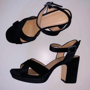 TOPSHOP black velvet chunky heels